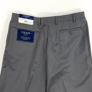 Chaps 100% Wool Mens Pleated Trouser Pants Gray